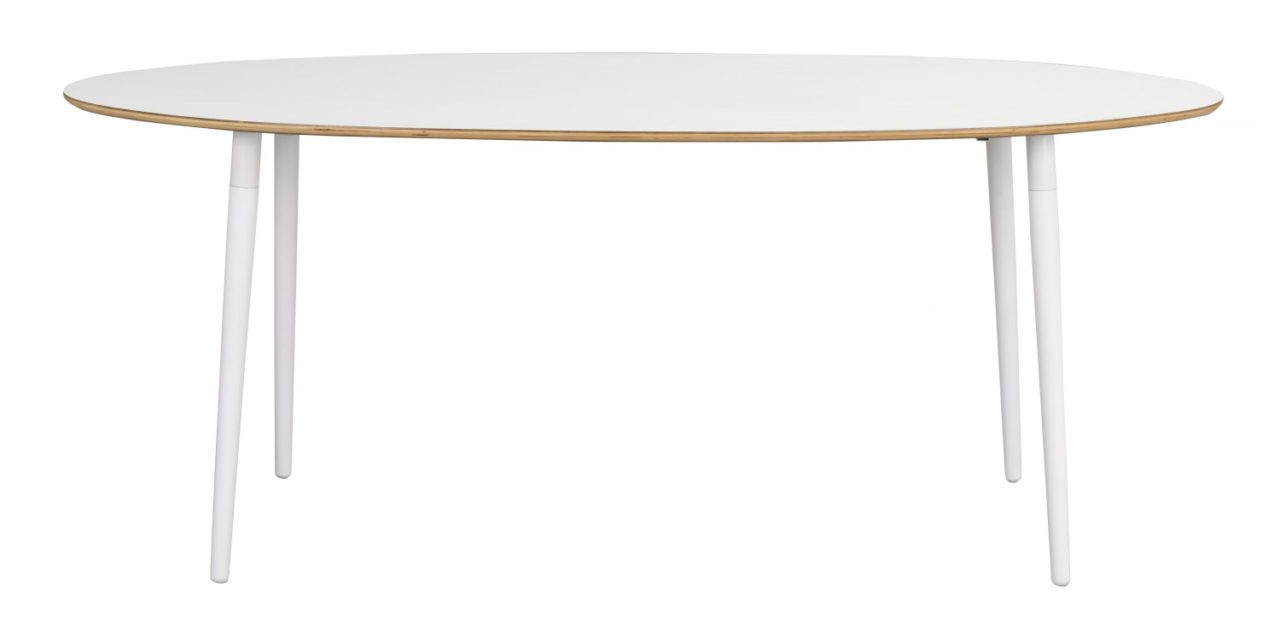 Fusion spisebord – hvid laminat/bøg, oval (190×100)