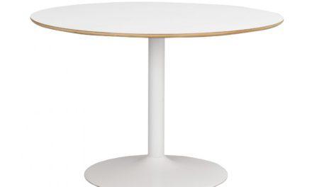 Fusion spisebord – hvid laminat, rund m. trompetfod (Ø115)