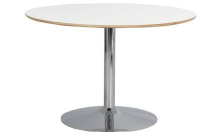 Fusion spisebord – hvid laminat/krom, rund m. trompetfod (Ø115)