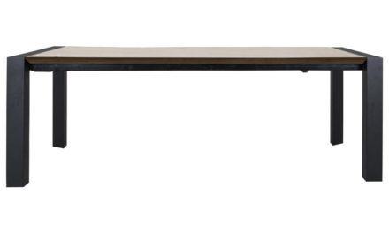 CANETT Oksna spisebord – natur/sort, incl. tillægsplade