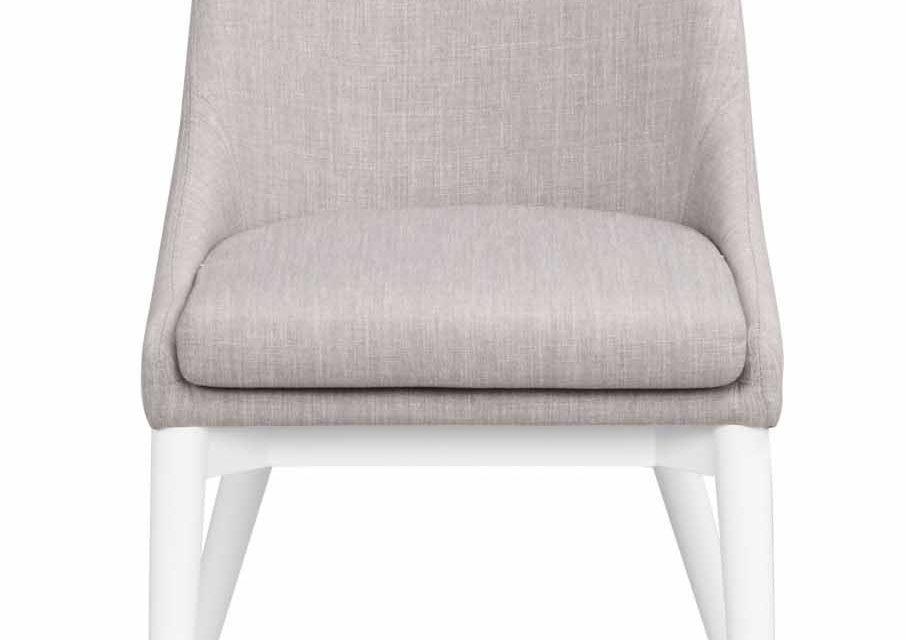Bea spisebordsstol – lysegråt stof/hvidt træ