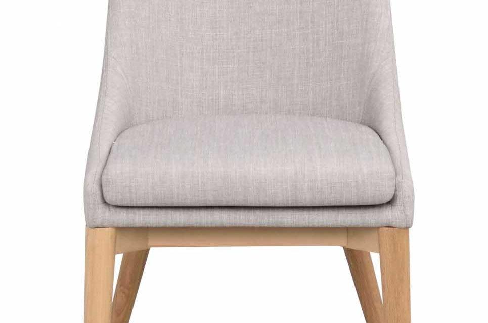 Bea spisebordsstol – lysegråt stof/eg