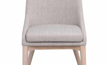 Bea spisebordsstol – lysegråt stof/hvidpigmenteret eg