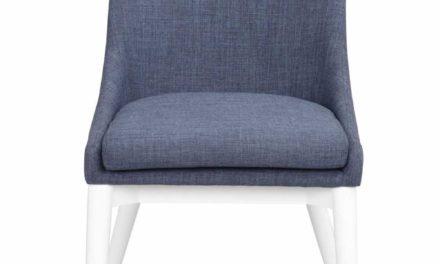 Bea spisebordsstol – blåt stof/hvidt træ
