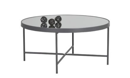 London sofabord – spejlglas/antracitgrå metal, rund (Ø83)