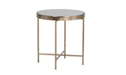 London sidebord – spejlglas/bronzefarvet metal, rund (Ø43)
