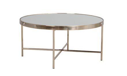 London sofabord – spejlglas/bronzefarvet metal, rund (Ø83)