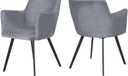 CANETT Conca spisebordsstol m. armlæn – Lysegrå
