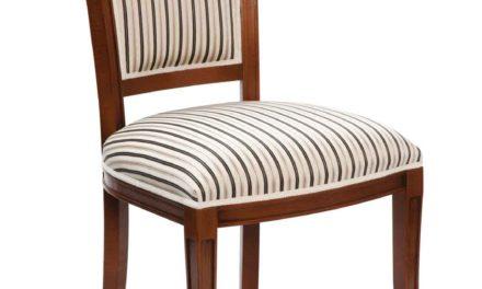 Amore spisebordsstol – valnød og sort/hvid stribet stof