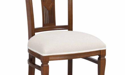Ramona spisebordsstol – Lakeret træ, hvid stof hynde