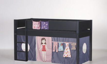 MANIS-H Frej halvhøj seng inkl. forhæng, antracitgrå (200×90) Car wash