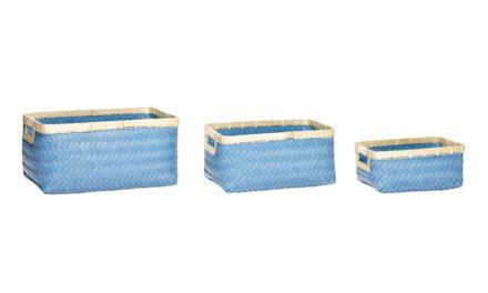 HÜBSCH Polyrattan/bambus kurv i blå/natur, 3 stk.