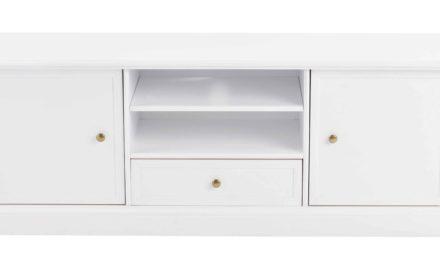 Torino TV-bord – Hvidt og lakeret træ, 2 låger, 1 skuffe og 1 hylde