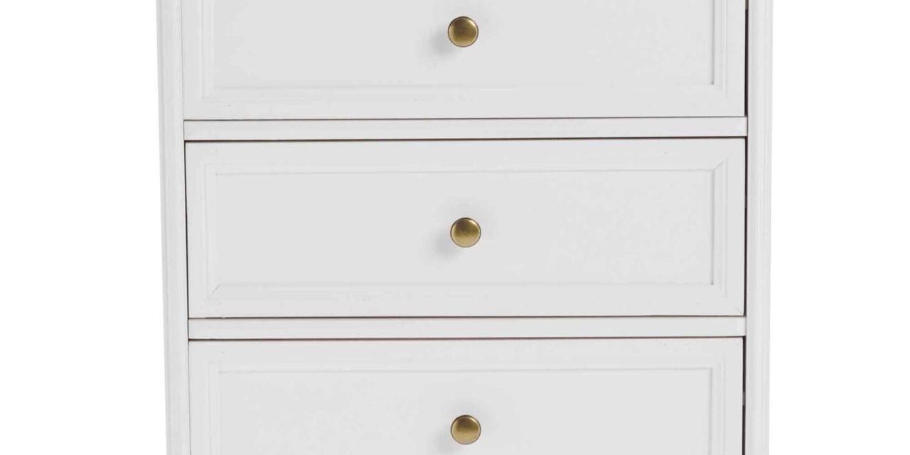 Torino kommode – Hvidt og lakeret træ, 5 skuffer