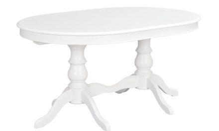 Amadeus spisebord – hvidt træ, oval m. 2 tillægsplader (110×160)