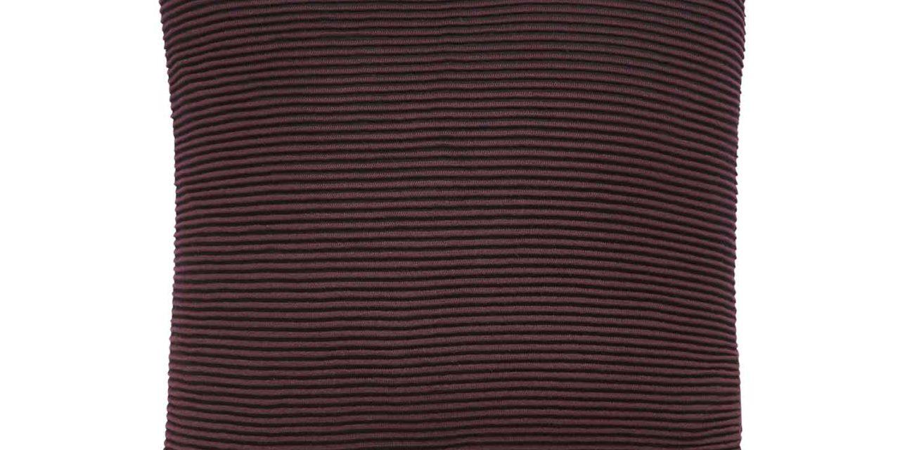 HÜBSCH pude m. mønster – bordeaux/sort bomuld (50×50)