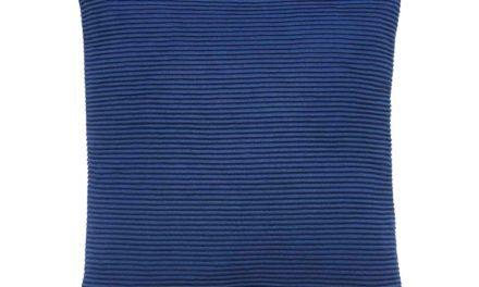HÜBSCH pude m. mønster – blå bomuld (50×50)