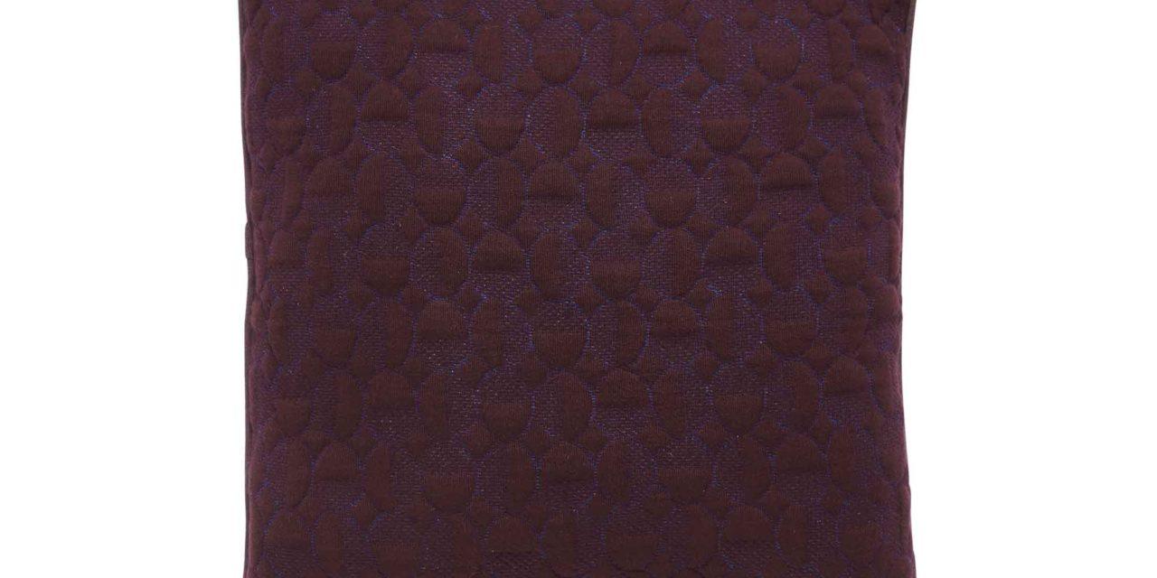 HÜBSCH pude m. mønster – bordeaux/blå bomuld (50×50)