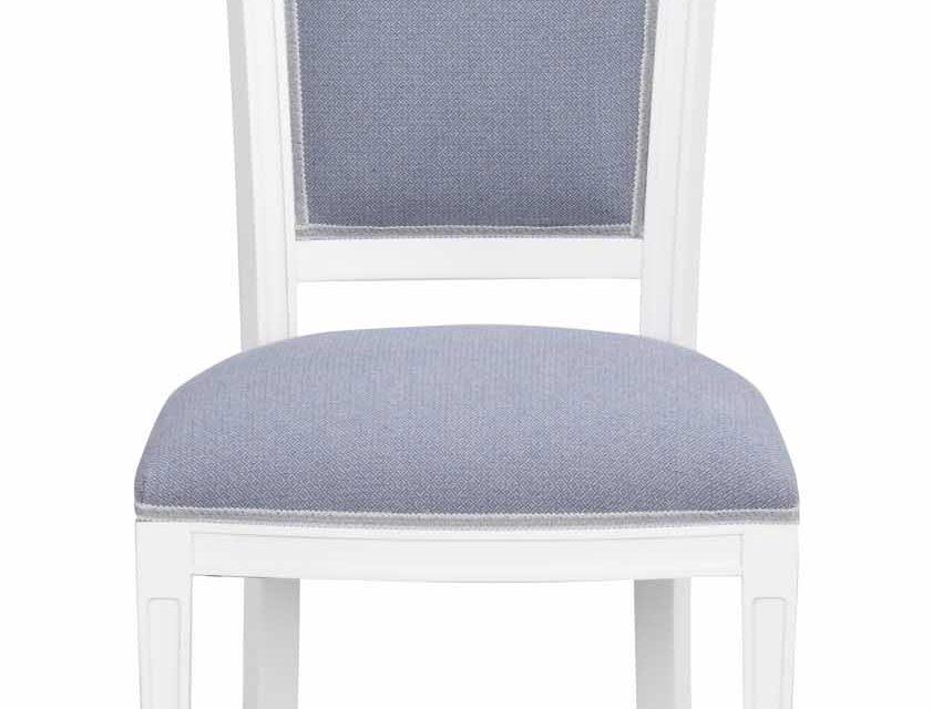 Amore spisebordsstol – hvidt træ og blåt stof