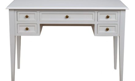 Leonardo skrivebord – hvid m. 5 skuffer