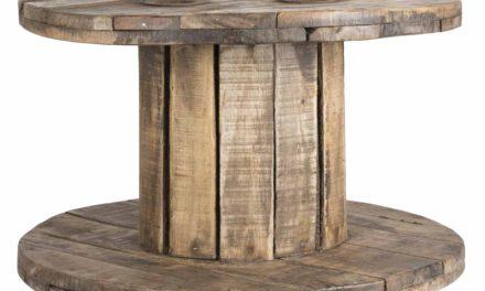 IB LAURSEN Unika kabeltromlebord – antik træ, rund (Ø63)