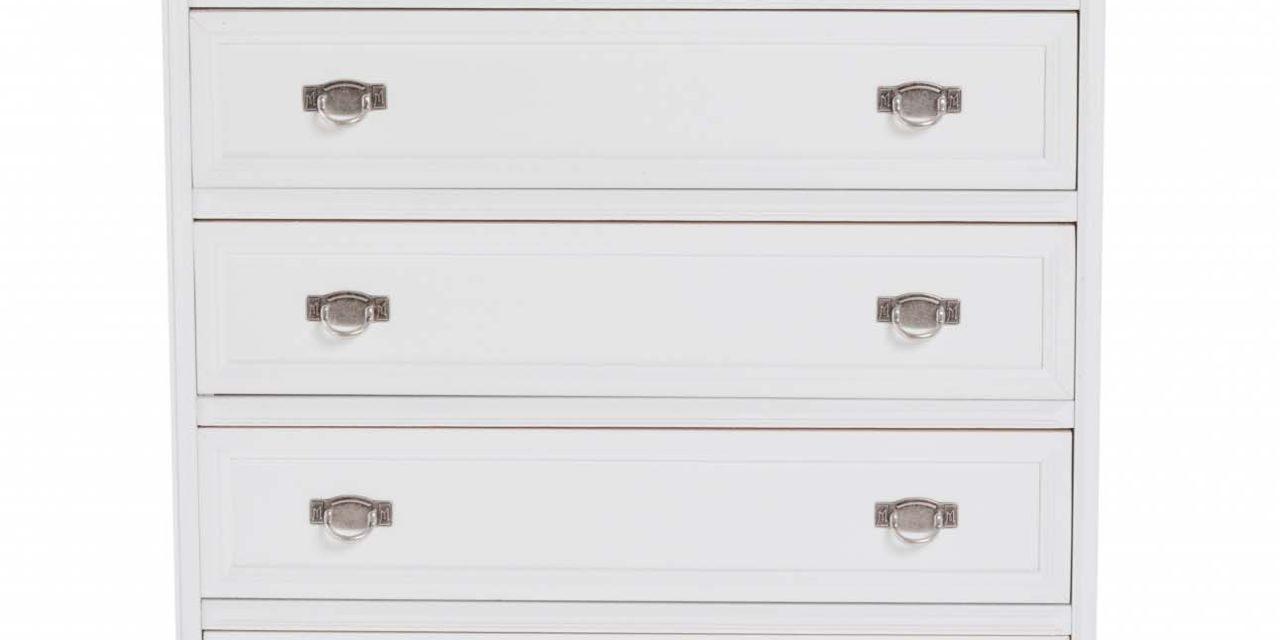 Minette kommode – hvid, m. 5 skuffer