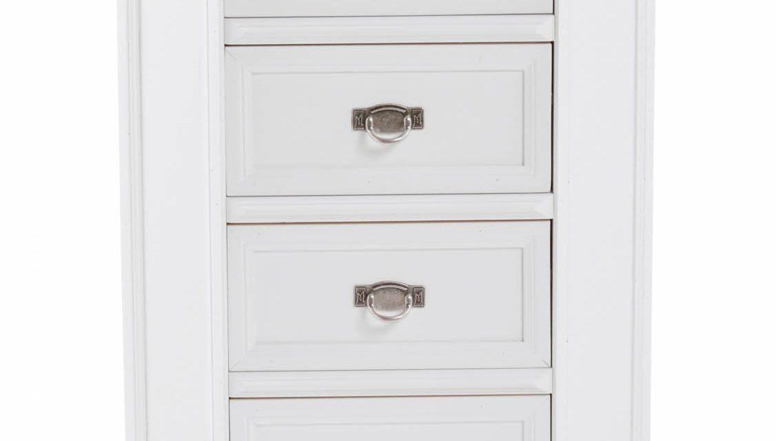 Minette kommode – hvid, m. 4 skuffer