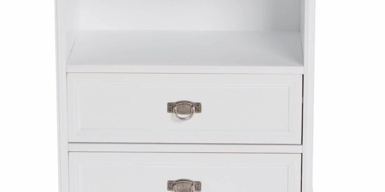 Minette kommode – hvid, m. 1 hylde og 2 skuffer