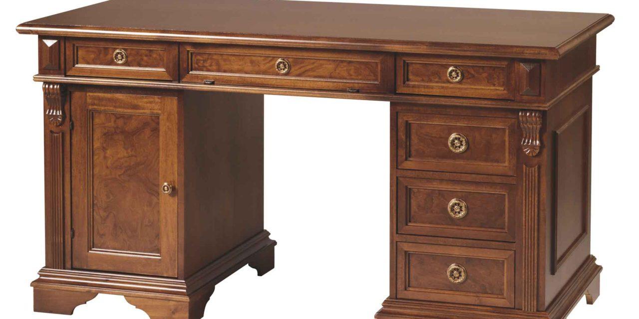 Mozart skrivebord – valnøddebrun m. 6 skuffer og 1 låge