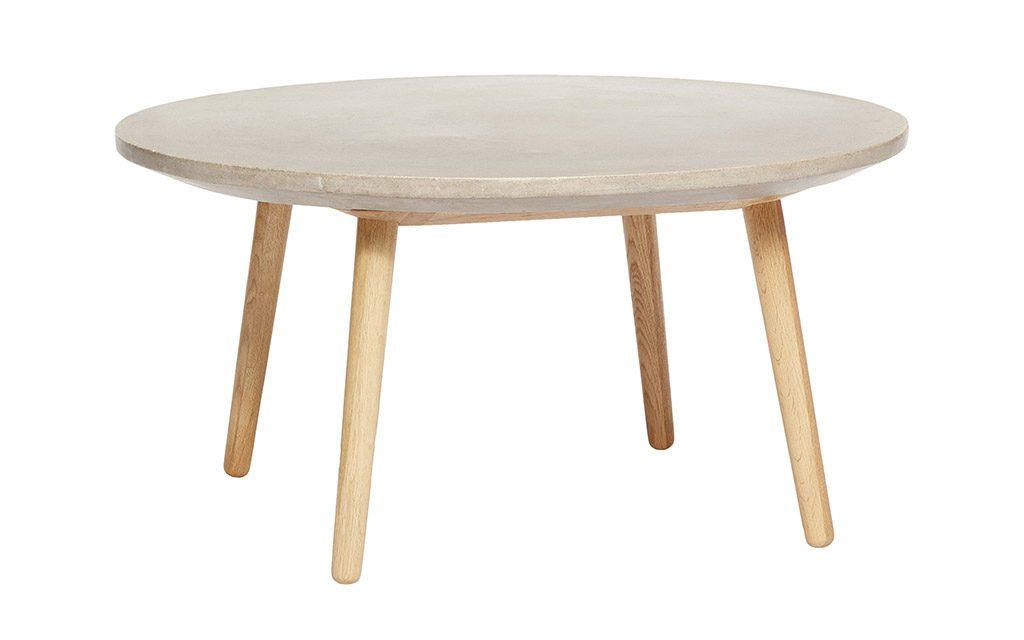 HÜBSCH Rundt bord, egetræ/beton