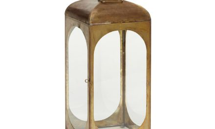HÜBSCH Firkantet Lanterne af messing/glas