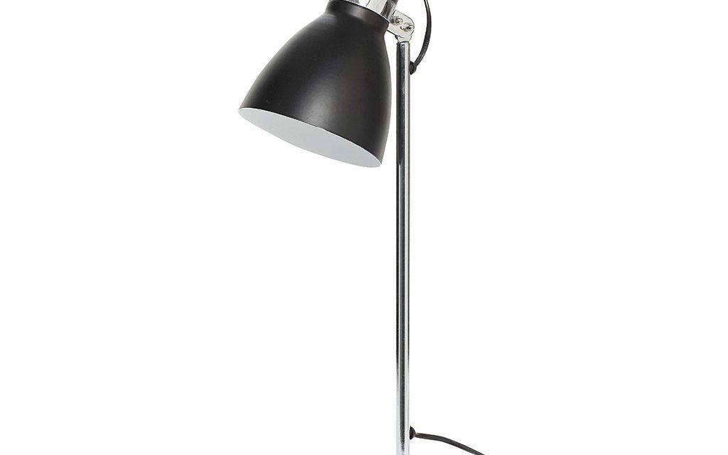 HÜBSCH Bordlampe i metal/beton, sølv/sort