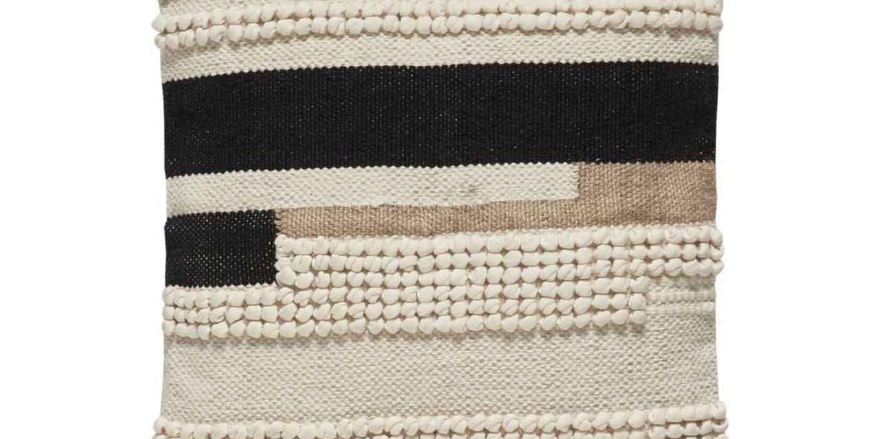 HÜBSCH pude m. mønster – hvid/sort/brun bomuld (45×45)