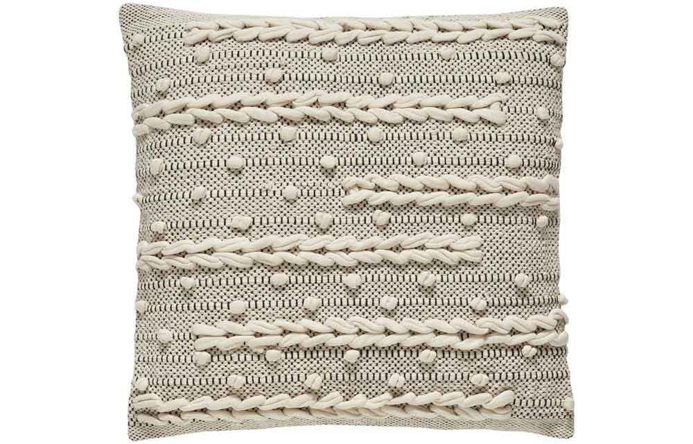 HÜBSCH pude m. mønster – hvid/sort bomuld (45×45)