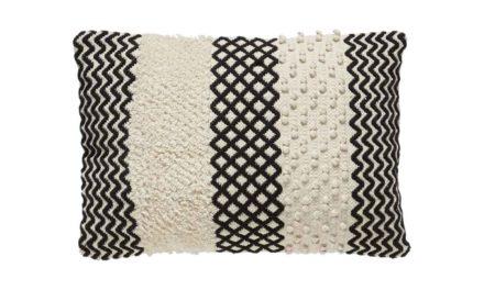 HÜBSCH pude m. mønster – hvid/sort bomuld (40×60)