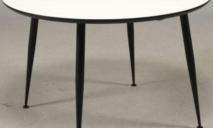 FURBO Spisebord, hvid laminat. sorte metal ben, ø 110 cm.