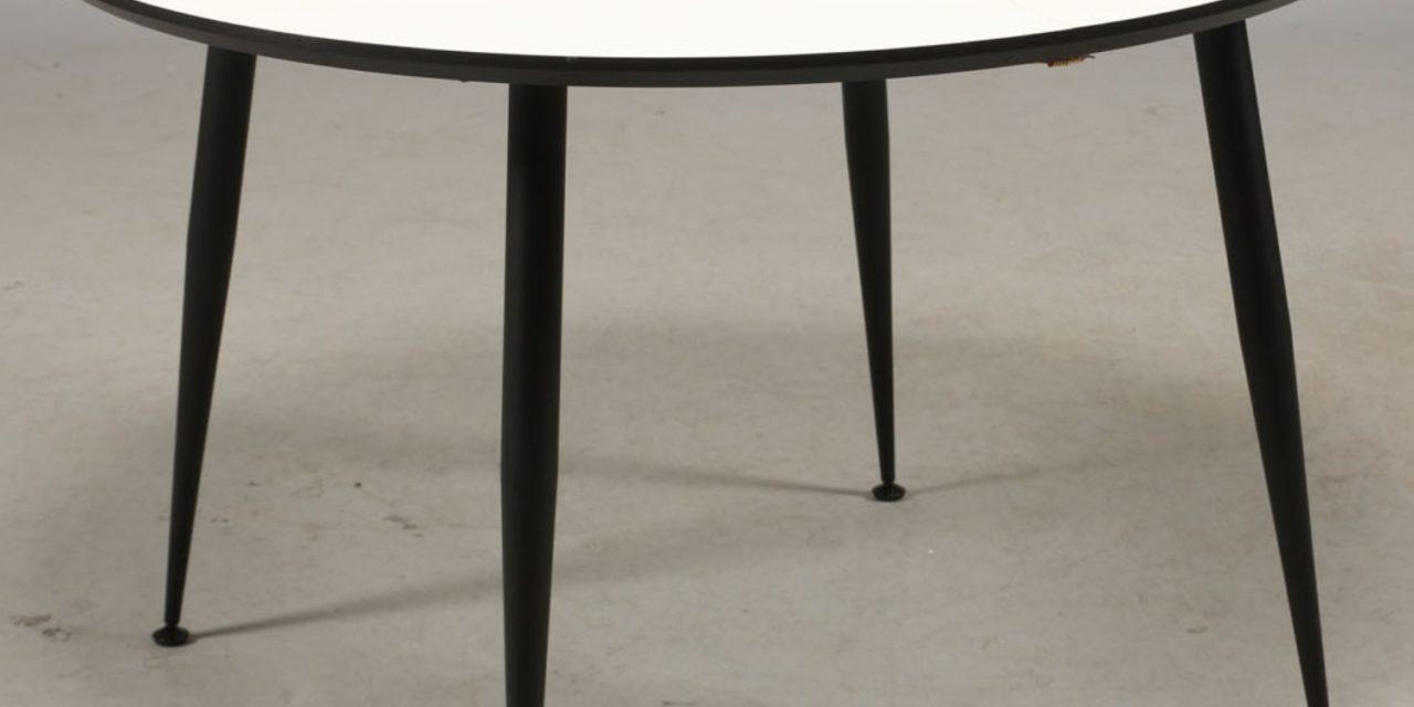 FURBO Spisebord, hvid laminat. sorte metal ben, ø 100 cm.