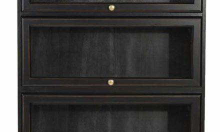 Leonardo bogreol – sort m. 5 glaslåger