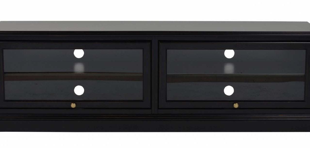 Leonardo TV-bænk – sort m. 2 glaslåger