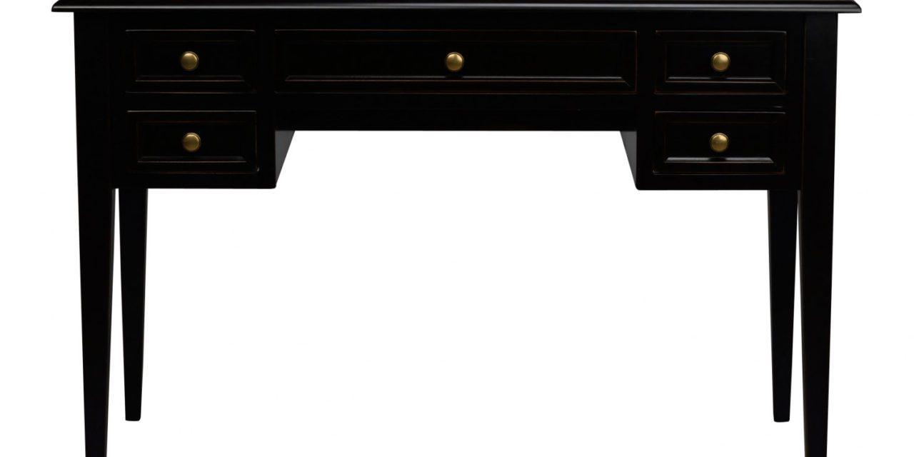 Leonardo skrivebord – sort m. 5 skuffer