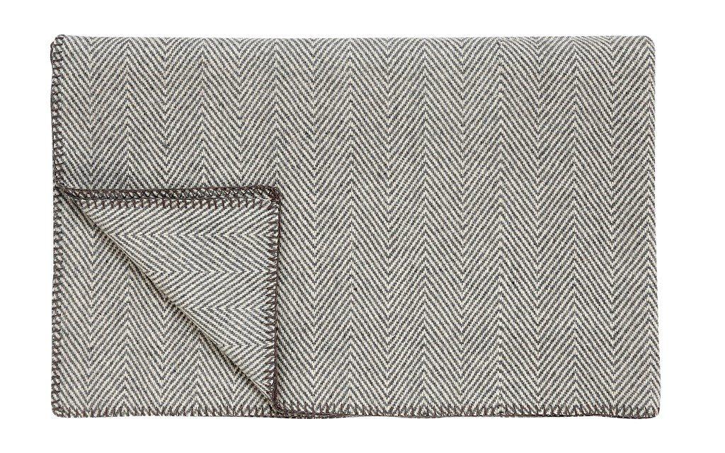 HÜBSCH Uld plaid m/sildebensmønster, grå/offwhite