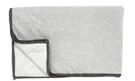 HÜBSCH Jersey plaid m/sort kant, grå