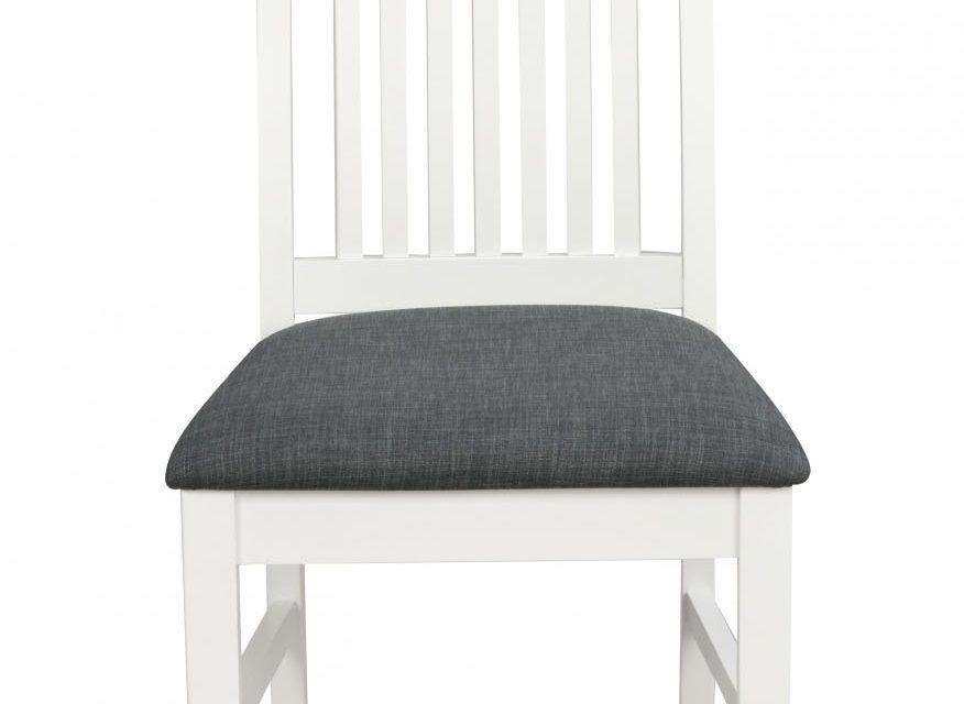 Kansas spisebordsstol – hvid/gråt stof