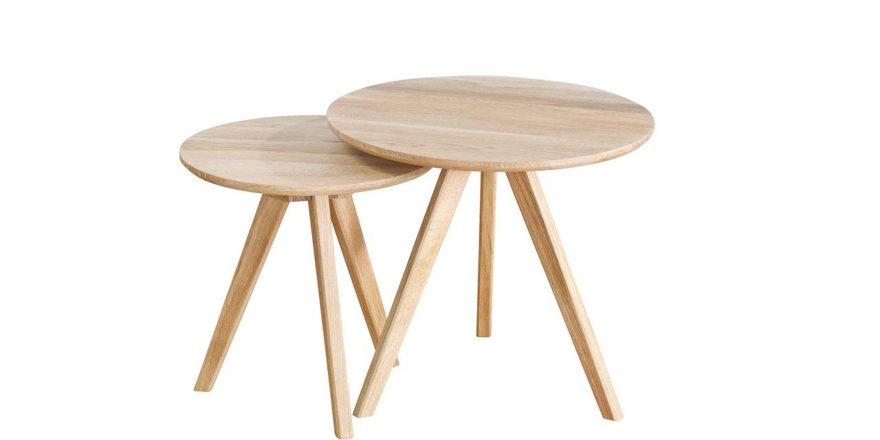 Yumi sofaborde – Sæbebehandlet egetræ, 2 stk