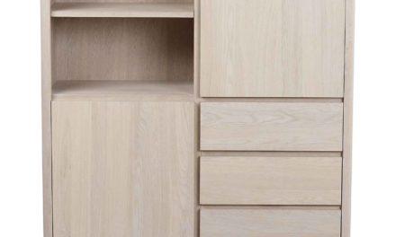 Yumi highboard – Hvidpigmenteret egetræ, 2 låger/3 skuffer/2 hylder