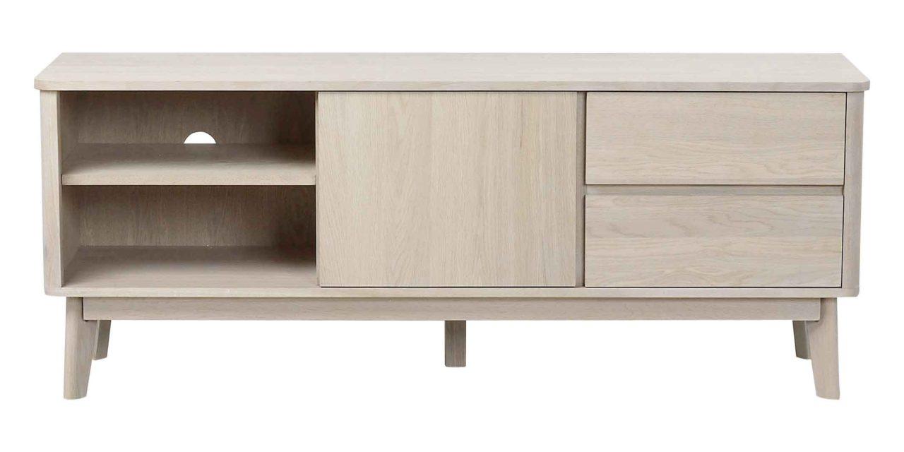 Yumi TV-bord – Hvidpigmenteret egetræ 2 skuffer/2 hylder/1 låge