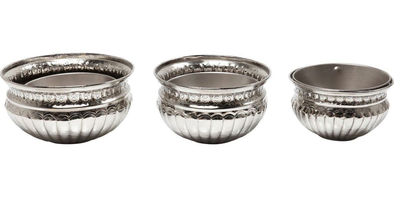 Stilfulde Queen potter i nikkelbelagt aluminium fra det kendte brand Kare Design
