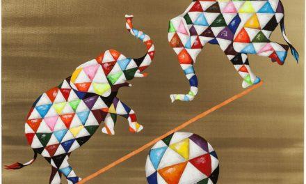 Billede Touched Circus Elefants 120 x 120 cm