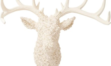 Vægdekoration Antler Deer Roses Hvid