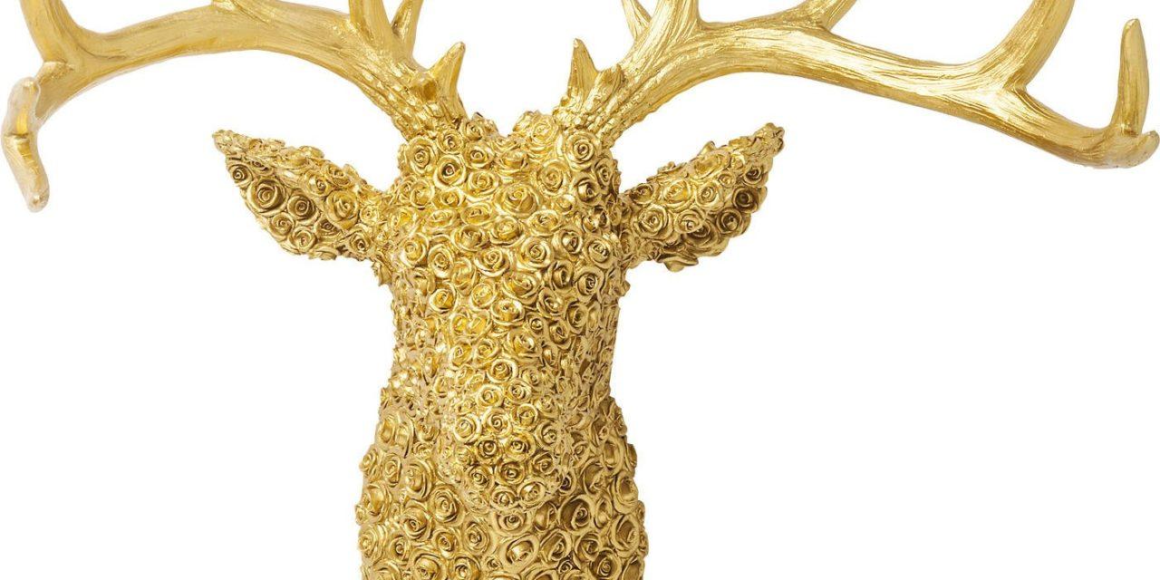 Vægdekoration Antler Deer Roses Guld